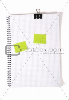 clipboard with squared paper on white