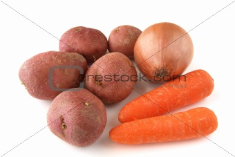 carrots, potatoes and onion on white background