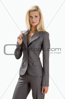 Blonde in gray suit
