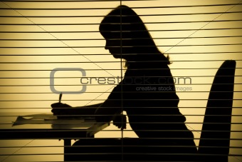 silhouette of woman with papers (view through the blind)