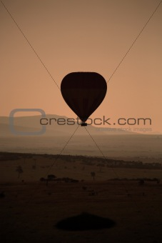 Silhouette of hot air balloon