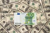 Lonely one hundred euros over handreds of dollars