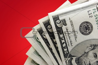 Money on Red Background