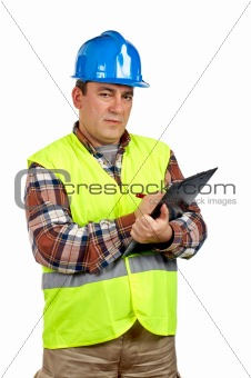 Construction worker writing