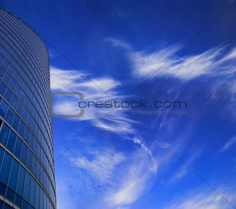 Skyscraper facade on blue sky