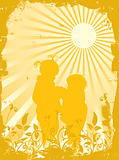 Silhouettes of children in beams of the sun, vector