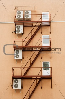 Air conditioners mounted on the walls