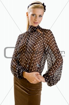 Blonde in blouse and skirt