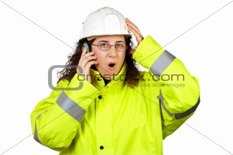 Female construction worker surprised