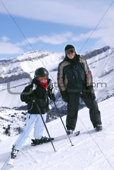 Skiing in mountains
