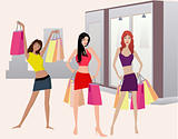 Shopping girls - vector