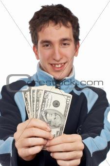Showing a fan money