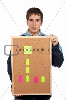 Holding the corkboard with notes