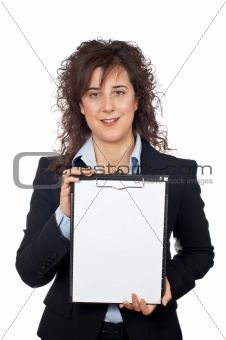 Business woman showing a notebook