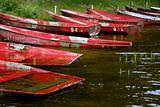 Boats in the lake in summertime