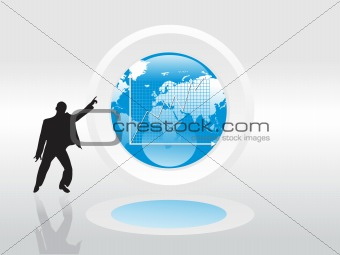 business man showing profits and gains at graph, banner