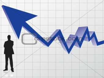 business man silhouette and graph with arrow showing profits and gains, pattern