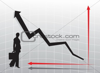 business woman silhouette and graph with arrow showing profits and gains, pattern