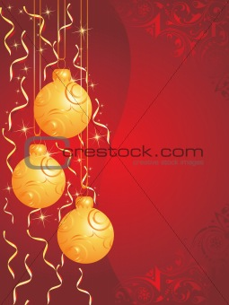 christmas bulbs with snowflakes on red background