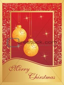 christmas card with bulbs and snowflakes