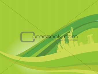 city isolated on wavy background, green wallpaper