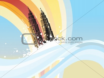 cityscape on wavy background