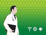 doctor having medical report and medical icons, green vector