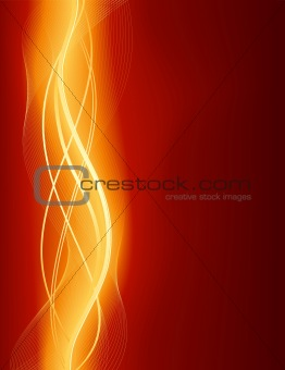 Glowing abstract wave background in red gold