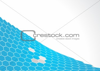 Blue polygons with white background. Vector art