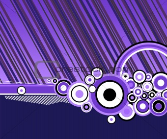 Abstract lines with circles. Vector