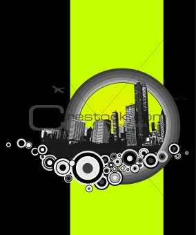 City with green stripe. Vector