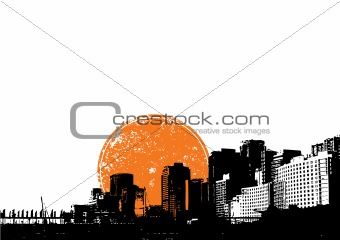 City with orange sun. Vector art