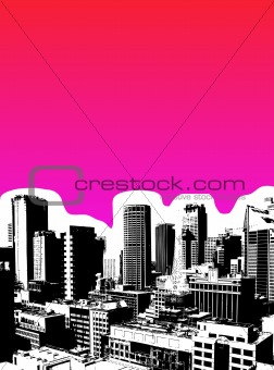 Black city with pink background. Vector art
