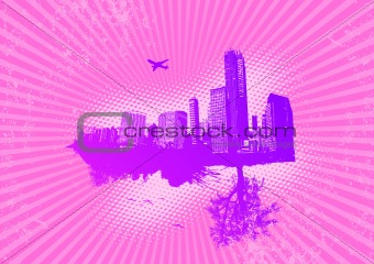City and nature on pink background. Vector
