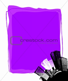 City with purple board. Vector