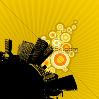 Black city on yellow background. Vector