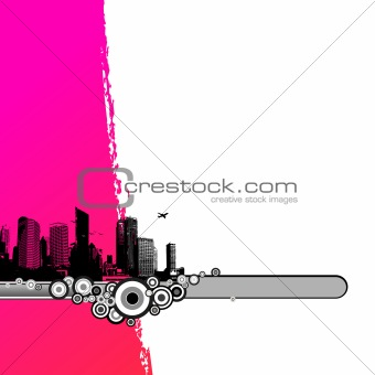 Black city with pink stripe. Vector