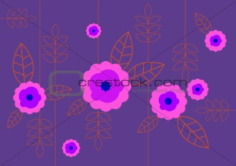 Abstract illustration with flowers. Vector