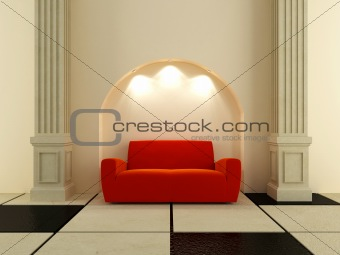 3D Interiors - Red sofa under the arc