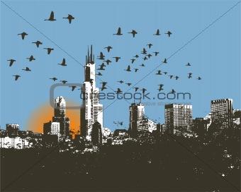Cityscape skyline background