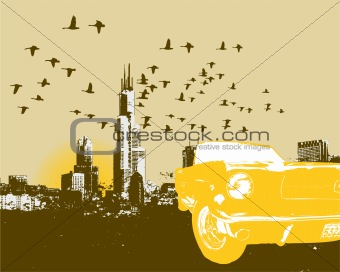 Car and cityscape skyline background