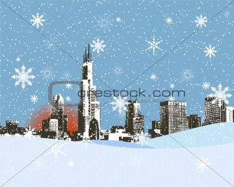 City skyline in the snowy winter, background