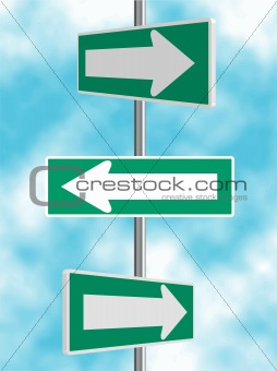 Green Arrow Road Signs Background