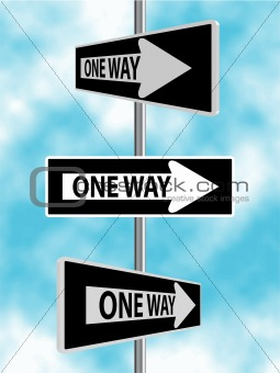 One Way Sign Illustrations