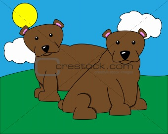 Pair of Bears Illustration