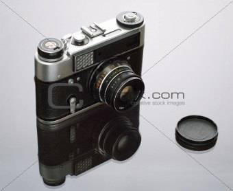Old reflex photo camera