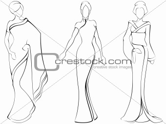 Sketch of women in traditional asian dresses