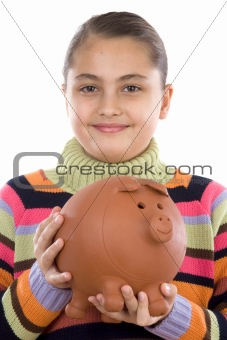Adorable girl with moneybox