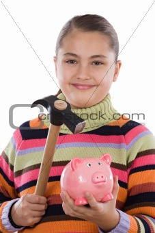 Adorable girl with moneybox and hammer