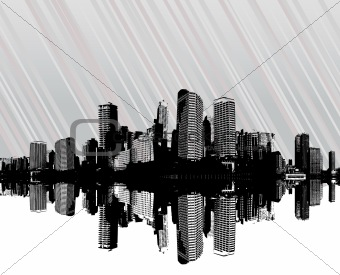 City with stripes. Vector art